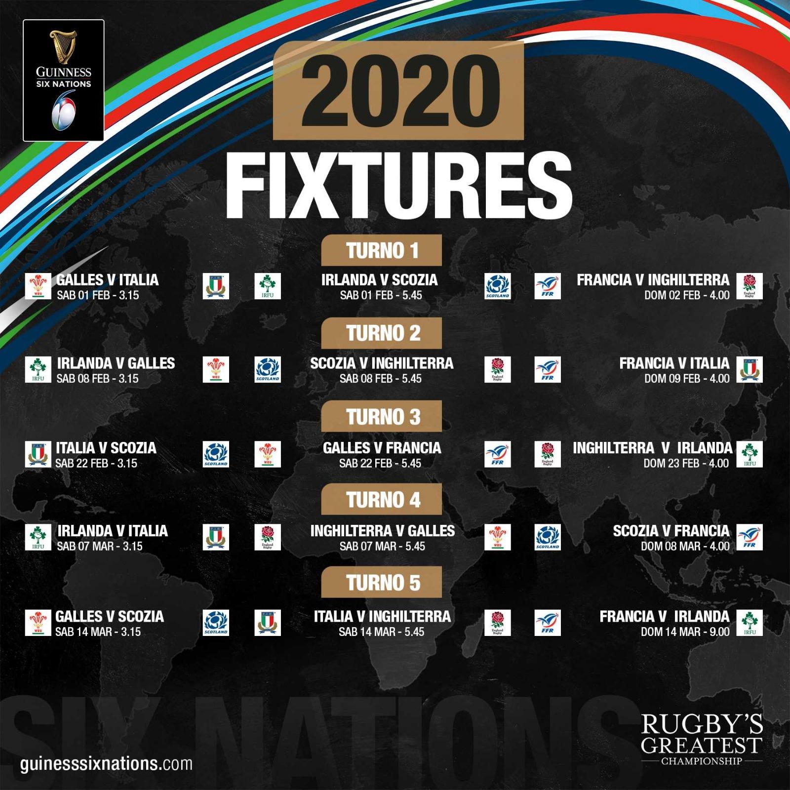Calendario Granfondo 2020.Rugby 6 Nazioni 2020 Calendario Calendario 2020